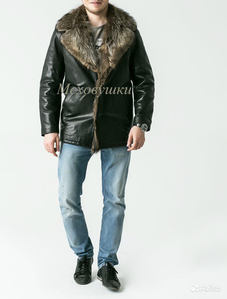 Мужские кожаные куртки с мехом волка
