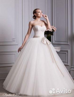 Свадебное платье с поясом лентой