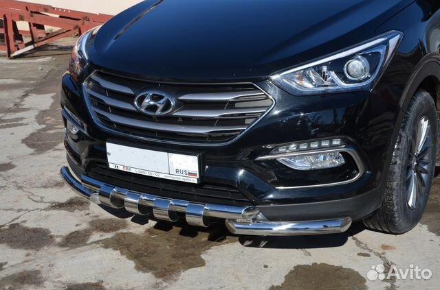 Защита переднего бампера Hyundai Santa Fe 2016