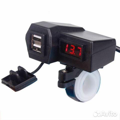 Зарядник на руль с USB и вольтметром для мотоцикла