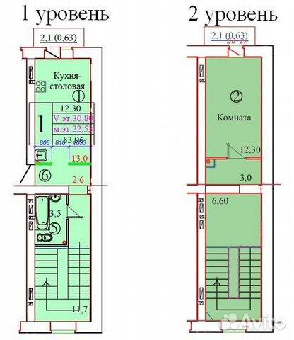 1-к квартира, 54 м², 5/6 эт. 88172786700 купить 1