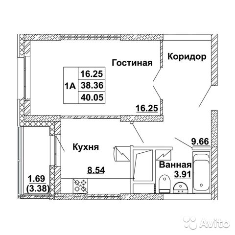 1-к квартира, 40.5 м², 17/20 эт. купить 1