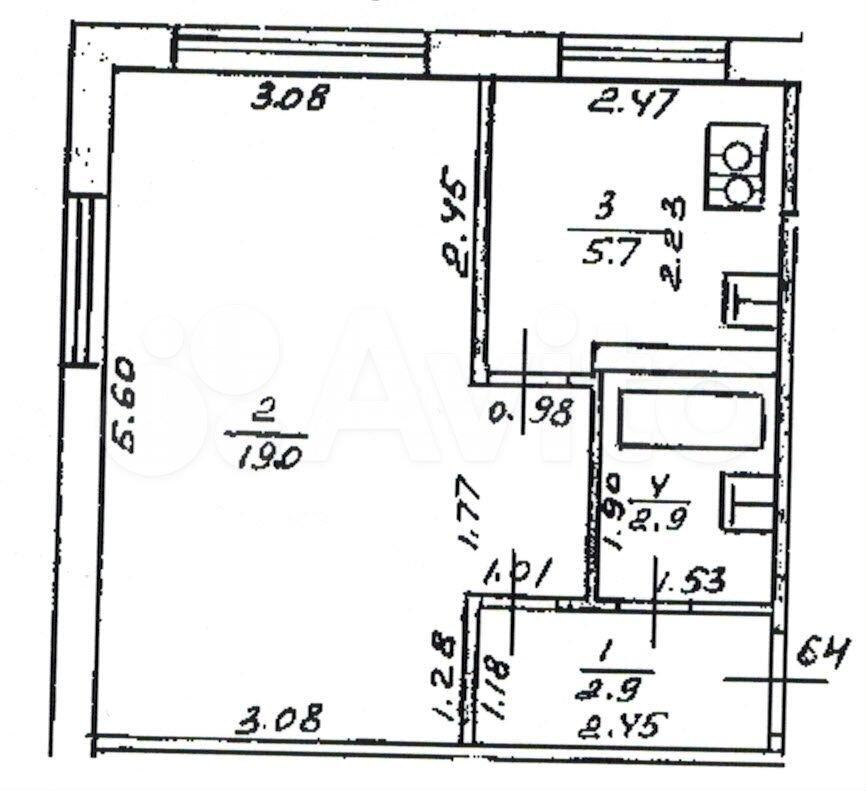 1-room apartment, 30.5 m2, 1/5 floor