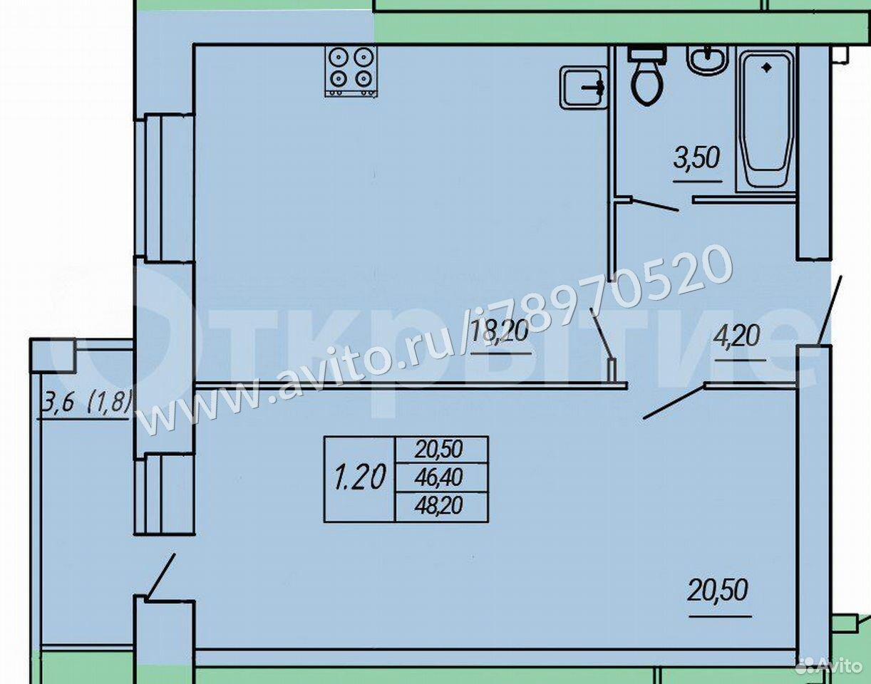 2-к квартира, 45.2 м², 5/10 эт.